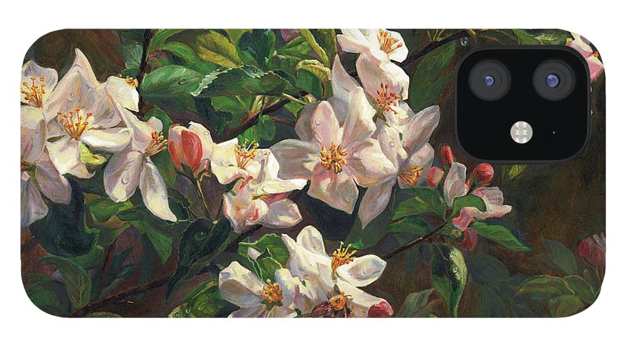 Flower IPhone 12 Case featuring the painting The Blossom Of Glamorous Spring by Svitozar Nenyuk