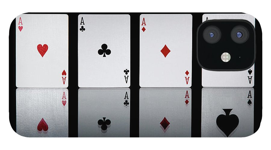 Risk IPhone 12 Case featuring the photograph The Four Aces From A Pack Of Playing by Sasha Weleber