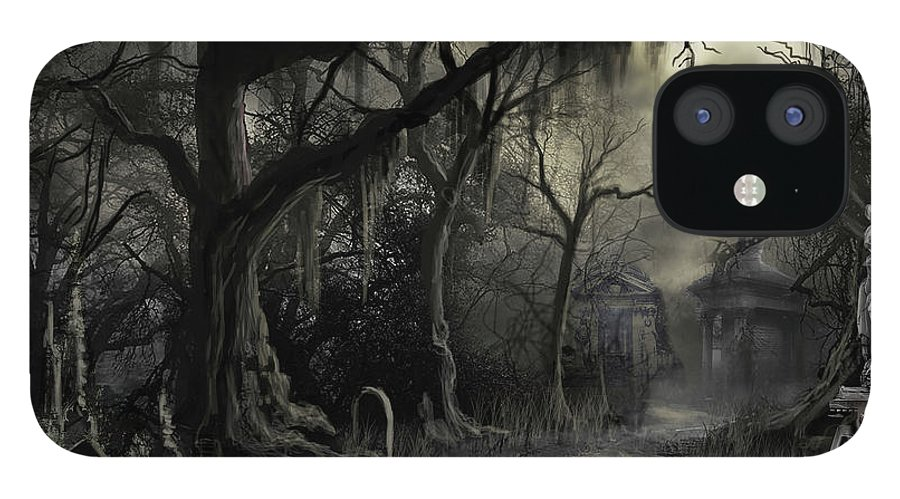 Cemetery iPhone 12 Case featuring the painting The Lost Cemetery by James Christopher Hill