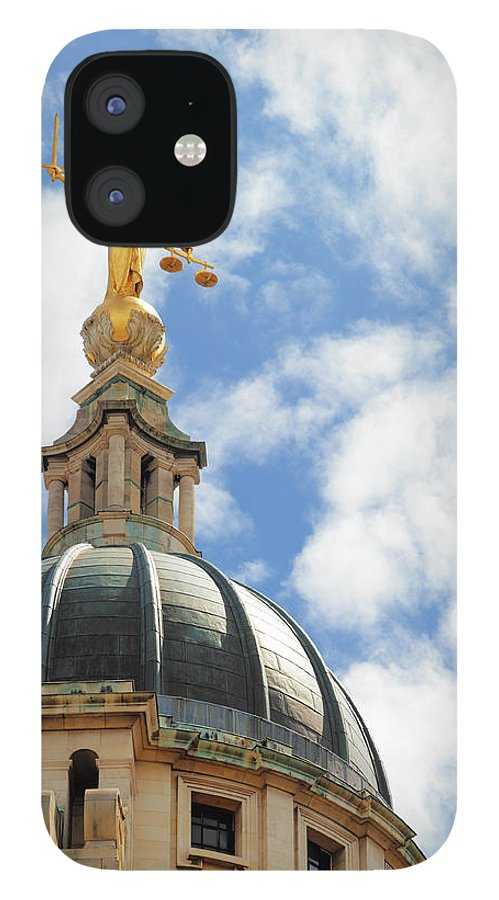 Statue IPhone 12 Case featuring the photograph The Old Bailey, Central Criminal Court by Peter Dazeley