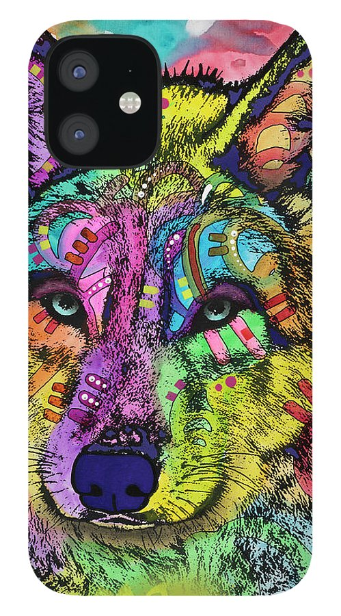 The Stare IPhone 12 Case featuring the mixed media The Stare Of The Wolf by Dean Russo- Exclusive