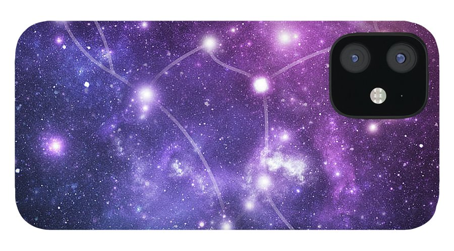 Black Color IPhone 12 Case featuring the photograph The Stars Constellation Of Orion by Sololos
