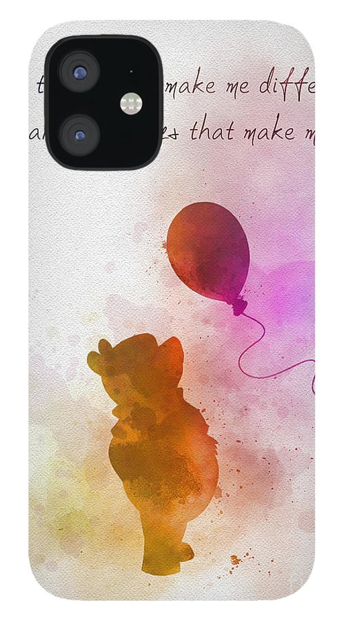 Winnie The Pooh IPhone 12 Case featuring the mixed media The things that make me different by My Inspiration