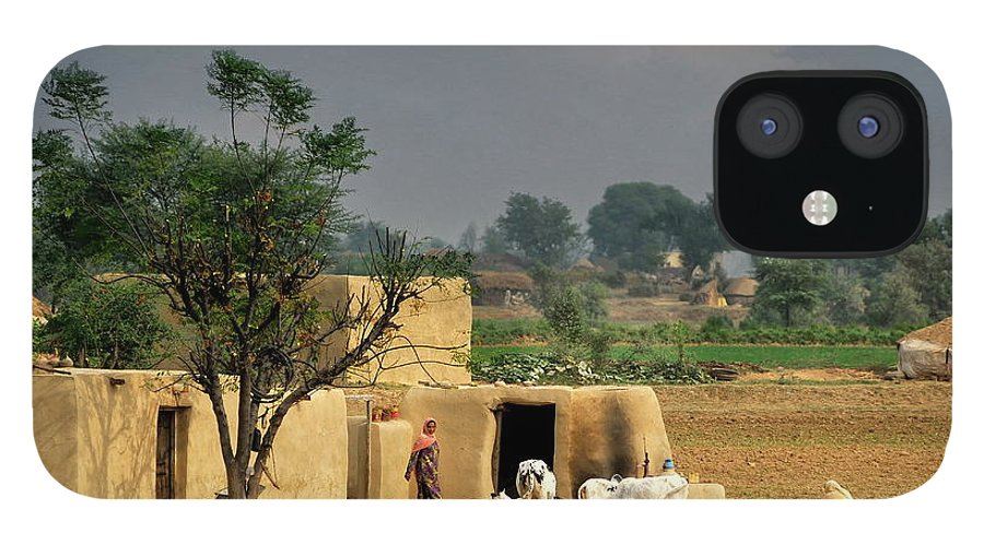 Grass IPhone 12 Case featuring the photograph The Village Of Punjab by Nadeem Khawar