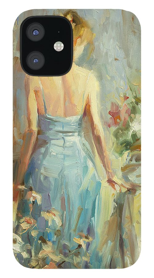 Woman IPhone 12 Case featuring the painting Thoughtful by Steve Henderson