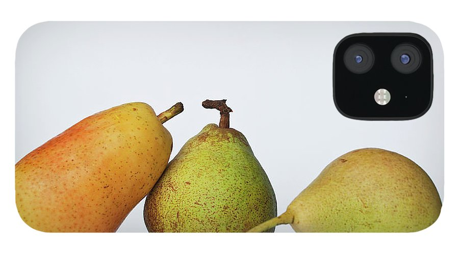 Healthy Eating IPhone 12 Case featuring the photograph Three Diferent Pears Isolated On Grey by Irantzu Arbaizagoitia Photography