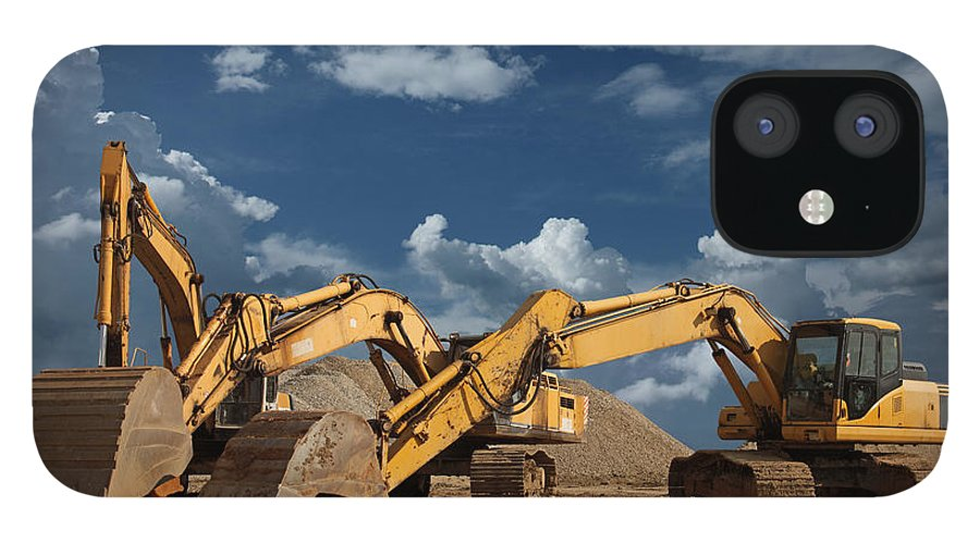 Working IPhone 12 Case featuring the photograph Three Excavators At Construction Site by Narvikk
