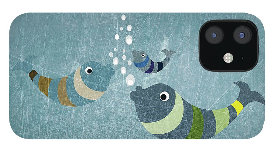 Underwater IPhone 12 Case featuring the digital art Three Fish In Water by Fstop Images - Jutta Kuss