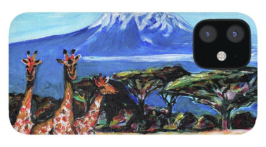 Everett Spruill IPhone 12 Case featuring the painting Three Giraffes by Everett Spruill
