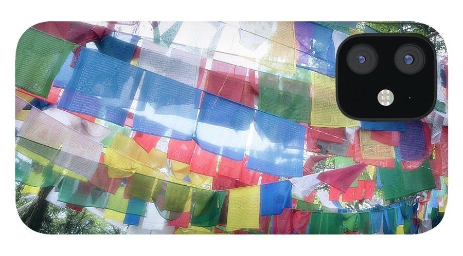 Hanging IPhone 12 Case featuring the photograph Tibetan Buddhist Prayer Flags by Glen Allison