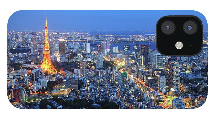 Tokyo Tower IPhone 12 Case featuring the photograph Tokyo Tower View From Mori Tower by Krzysztof Baranowski