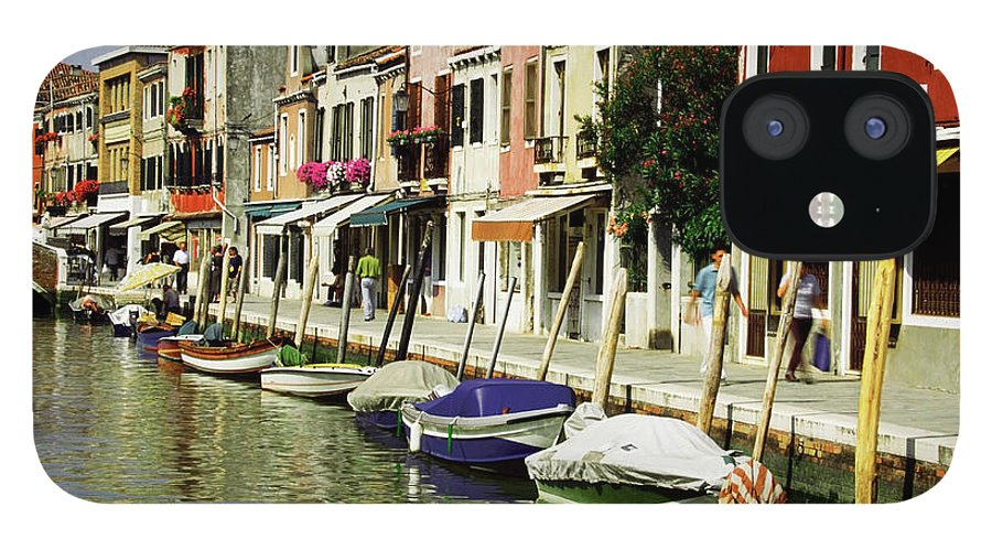 Row House IPhone 12 Case featuring the photograph Tourists Along A Canal, Murano, Venice by Medioimages/photodisc