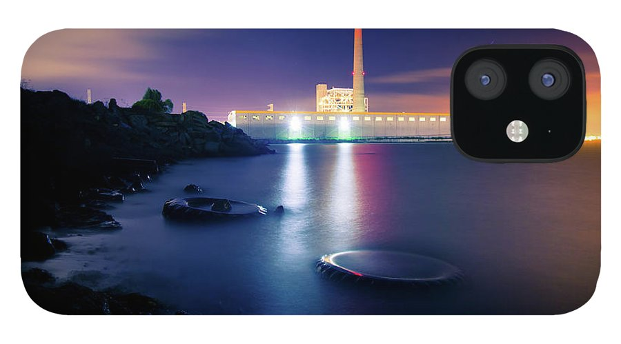 Industrial District iPhone 12 Case featuring the photograph Toxic Beach With Power Plant by Hal Bergman