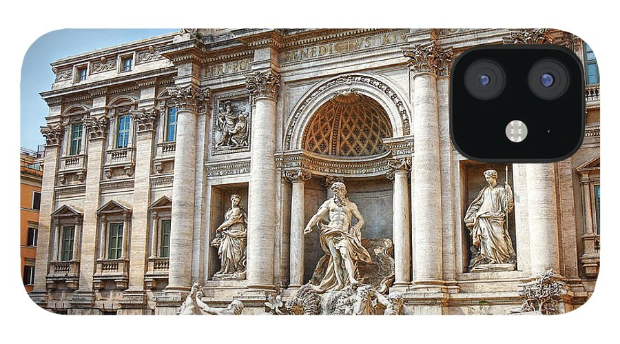 Arch iPhone 12 Case featuring the photograph Trevi Fountain by Maria Wachala