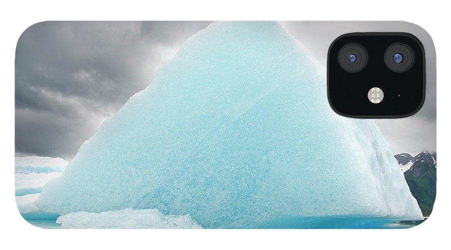 Iceberg IPhone 12 Case featuring the photograph Triangular Iceberg On Gloomy Day, Bear by James + Courtney Forte
