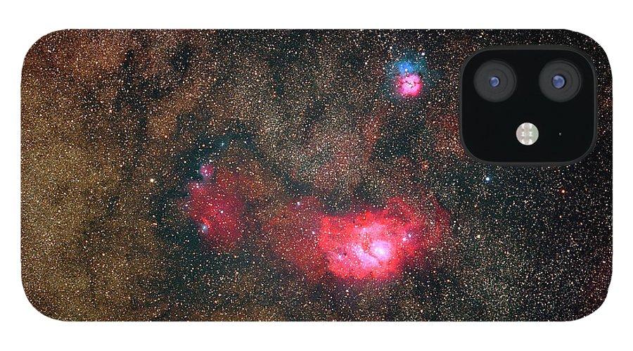 Sky IPhone 12 Case featuring the photograph Trifid Nebulae And Lagoon Nebula by Imagenavi