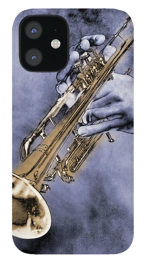 One Man Only IPhone 12 Case featuring the digital art Trumpet Player by Nick White