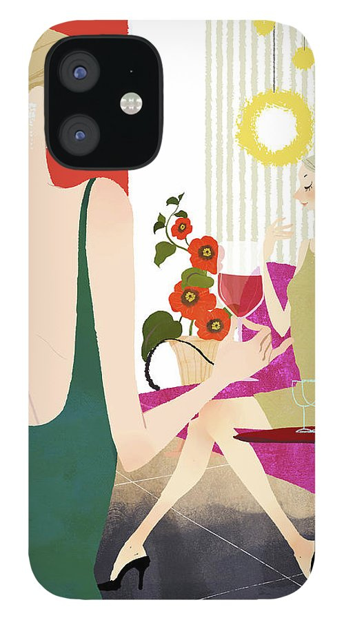 People IPhone 12 Case featuring the digital art Two Woman Drinking Wine by Eastnine Inc.