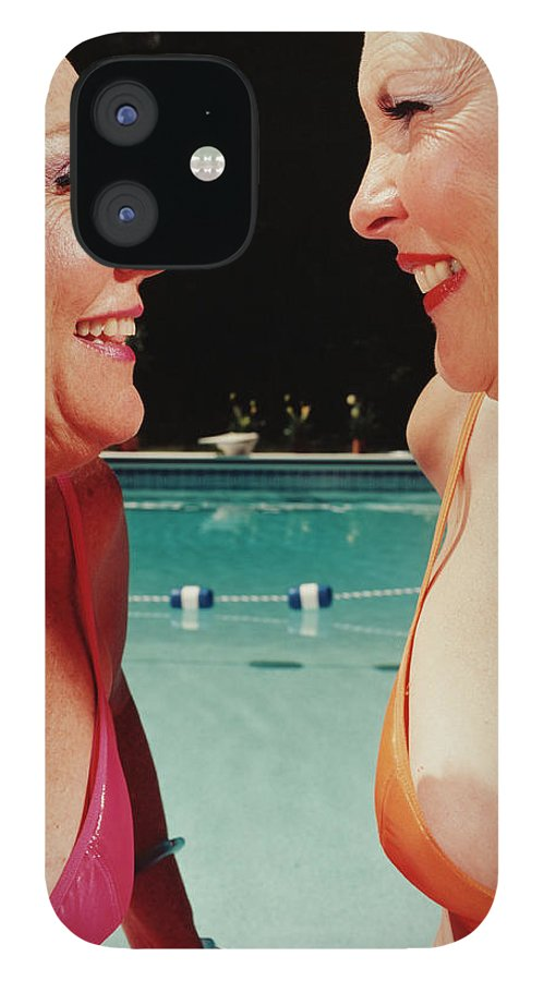 Mature Adult IPhone 12 Case featuring the photograph Two Women By Pool by Silvia Otte