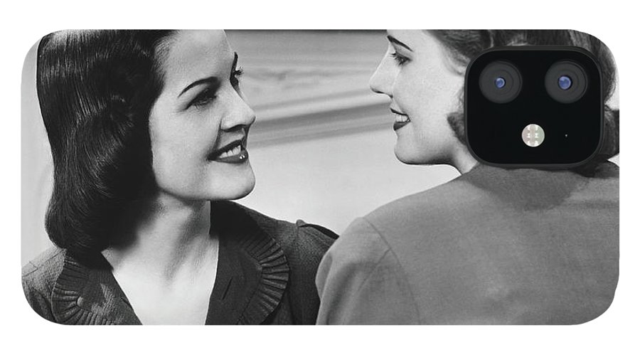 People IPhone 12 Case featuring the photograph Two Women Conversing In Living Room, B&w by George Marks