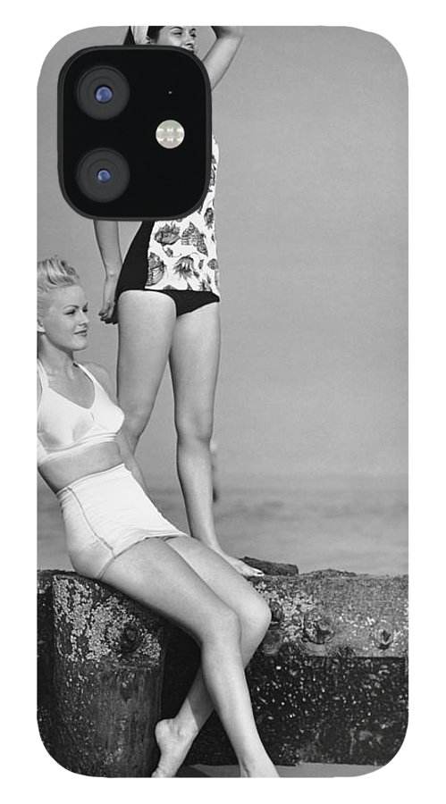 People IPhone 12 Case featuring the photograph Two Women In Bathing Suits by George Marks