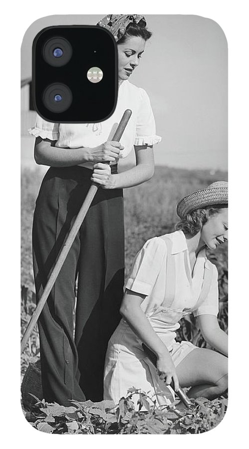 Straw Hat IPhone 12 Case featuring the photograph Two Women Working On Field, B&w by George Marks