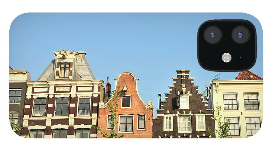 In A Row IPhone 12 Case featuring the photograph Typical Canal Houses, Amsterdam, The by Gorazdbertalanic