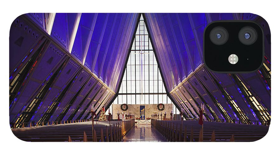 Large Group Of Objects IPhone 12 Case featuring the photograph U.s. Air Force Academy, Cadets Chapel by Walter Bibikow
