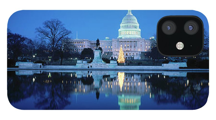 Scenics IPhone 12 Case featuring the photograph Us Capitol And Christmas Tree by Walter Bibikow
