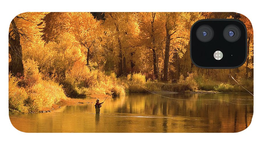 Orange Color IPhone 12 Case featuring the photograph Usa, Idaho, Salmon River, Mature Man by Steve Bly