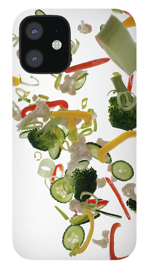 Broccoli IPhone 12 Case featuring the photograph Vegetables Against A White Background by Dual Dual