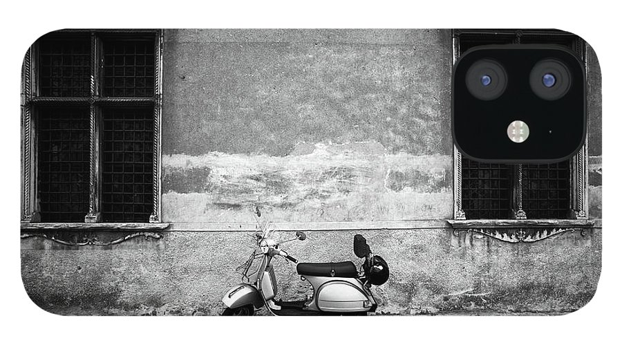 Two Objects IPhone 12 Case featuring the photograph Vespa Piaggio. Black And White by Claudio.arnese