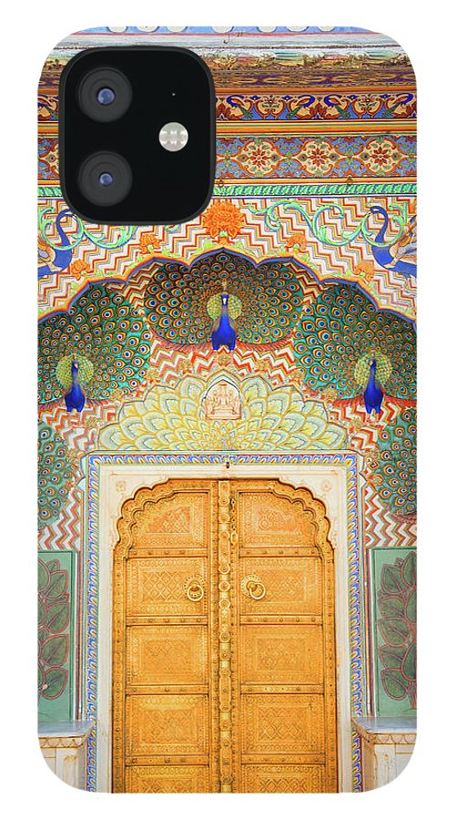 Arch IPhone 12 Case featuring the photograph View Of Peacock Door In Palace by Grant Faint