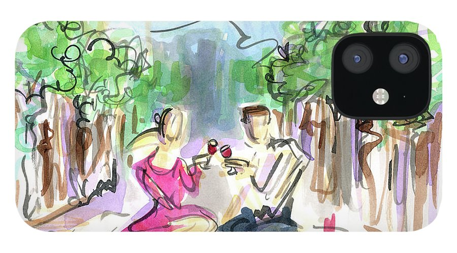 Vine And Dine IPhone 12 Case featuring the painting Vine And Dine by Jennifer Lilya