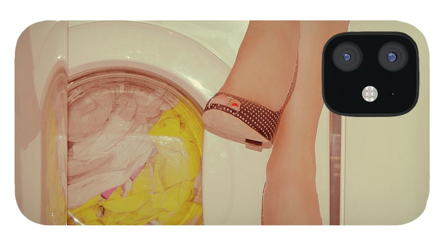 Laundromat IPhone 12 Case featuring the photograph Vintage Laundry by © Angie Ravelo Photography