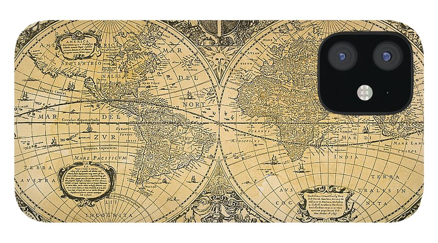 Latitude IPhone 12 Case featuring the digital art Vintage Map Of The World by Comstock