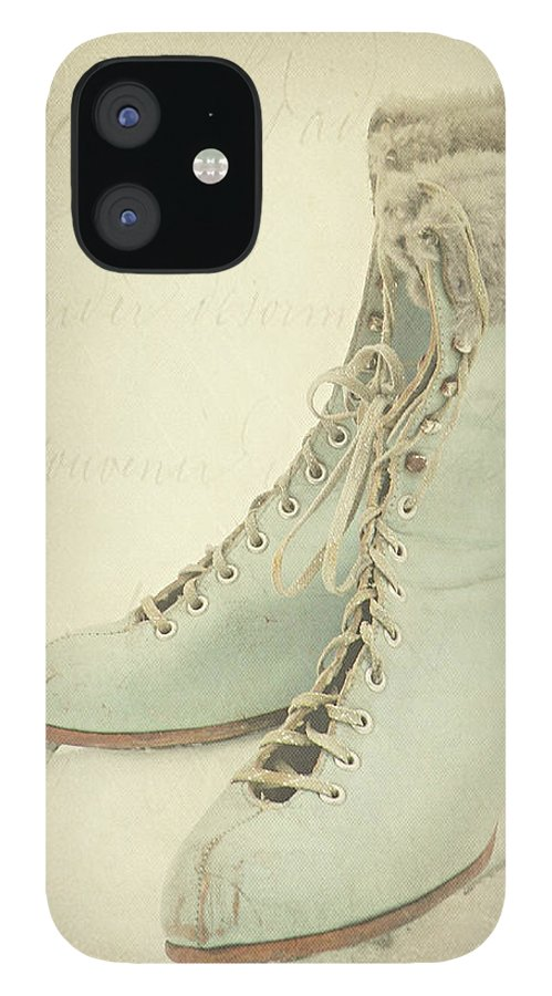 Snow IPhone 12 Case featuring the photograph Vintage Teal Skates by My Vintage Gardens Photography