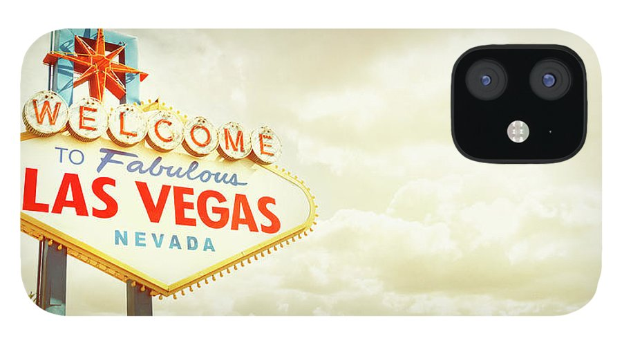 Panoramic IPhone 12 Case featuring the photograph Vintage Welcome To Fabulous Las Vegas by Powerofforever