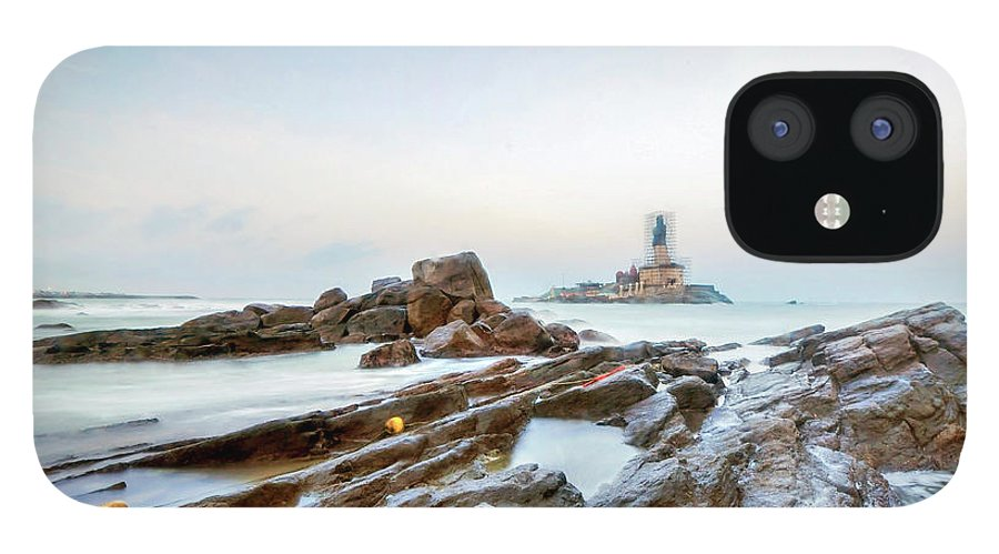 Statue IPhone 12 Case featuring the photograph Vivekanandar Rock & Thiruvalluvar by Yesmk Photography