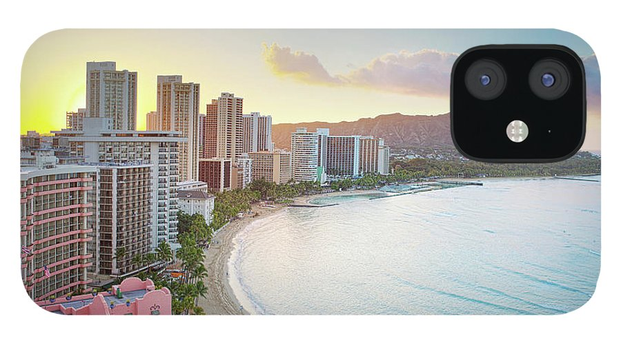 Scenics IPhone 12 Case featuring the photograph Waikiki Beach At Sunrise by M Swiet Productions