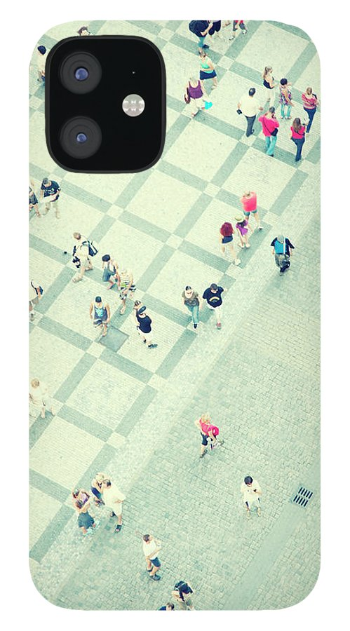 Pedestrian IPhone 12 Case featuring the photograph Walking People by Carlo A
