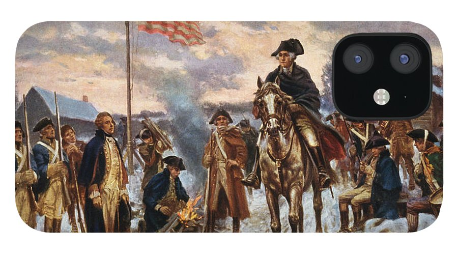 George Washington IPhone 12 Case featuring the painting Washington at Valley Forge by War Is Hell Store