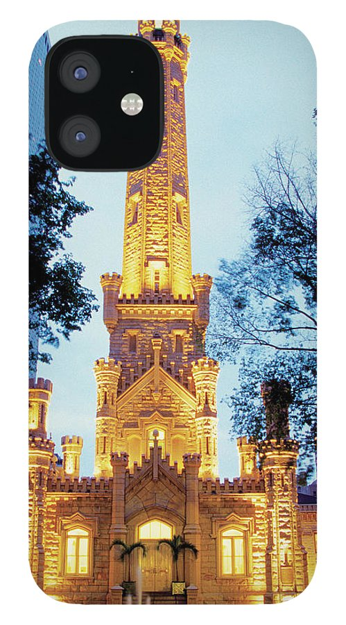 Travel16 IPhone 12 Case featuring the photograph Water Tower At Night In Chicago by Medioimages/photodisc