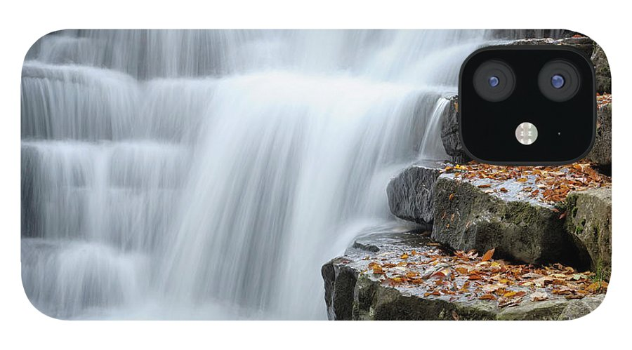 Steps IPhone 12 Case featuring the photograph Waterfall Flowing Over Rock Stair by Catnap72
