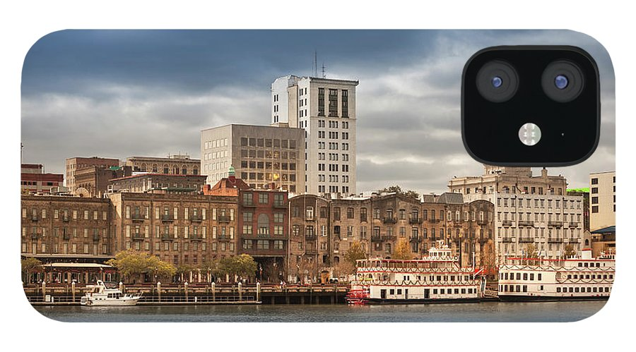 Scenics IPhone 12 Case featuring the photograph Waterfront Skyline Of Savannah Georgia by Pgiam