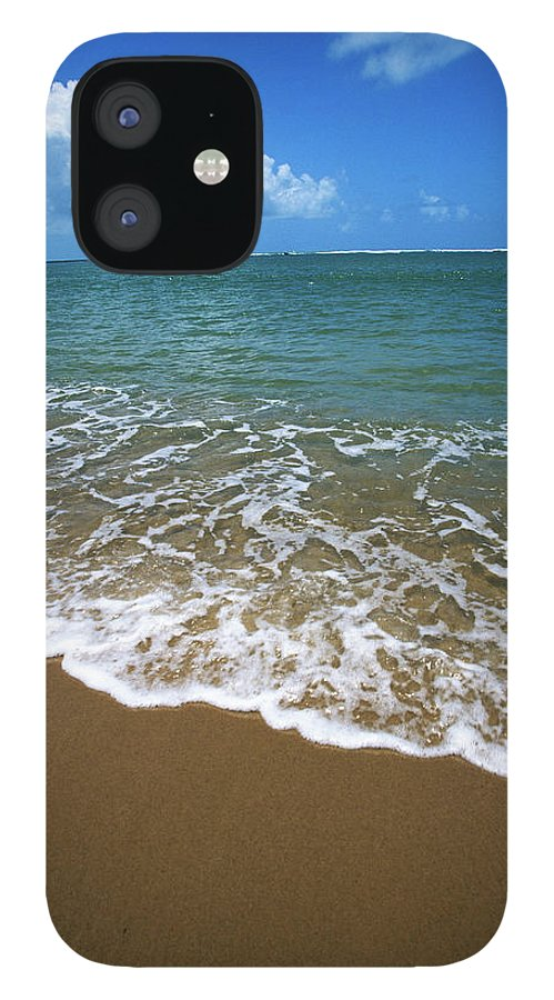 Water's Edge IPhone 12 Case featuring the photograph Waves Washing Onto White Sandy Beach by Luis Veiga