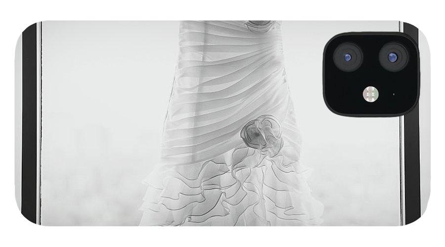 Hanging iPhone 12 Case featuring the photograph Wedding Dress In Black Frame by Matt Corkum