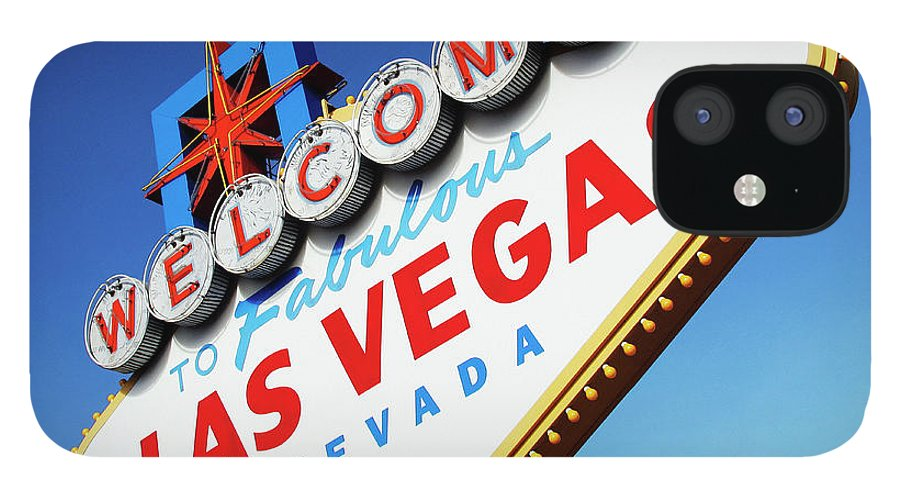 Risk IPhone 12 Case featuring the photograph Welcome To Las Vegas Sign, Low Angle by Steven Puetzer