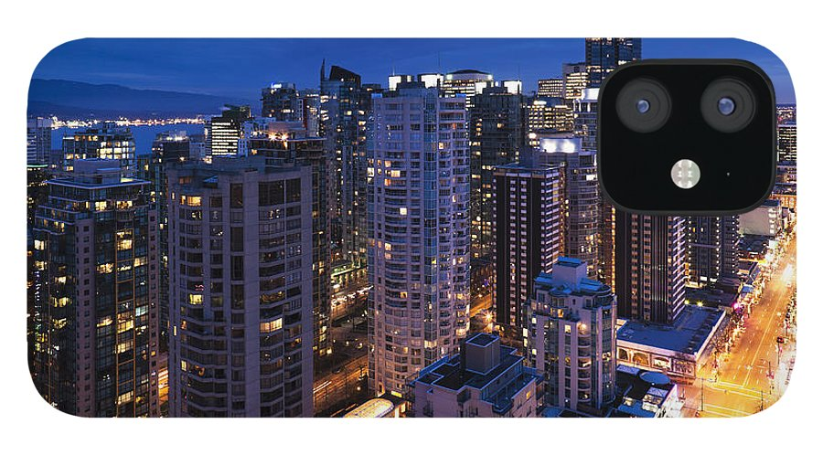 Outdoors IPhone 12 Case featuring the photograph West End Buildings Along Robson Street by Walter Bibikow