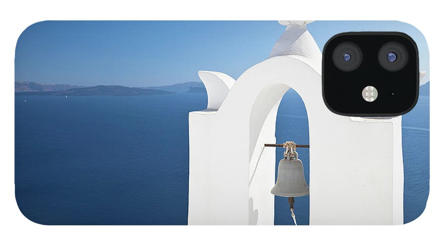 Greek Culture IPhone 12 Case featuring the photograph White Bell Tower And Blue Sea by Michaelutech